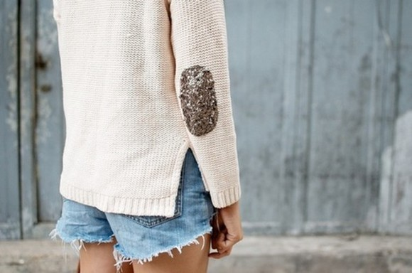 sweater sequins beige slit knit sweater elbow patch