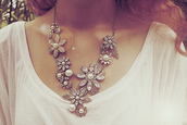 jewels,necklace,big,flowers,flashy,pinks,pink,silver,pearl,long,bunch,bulk,bulky