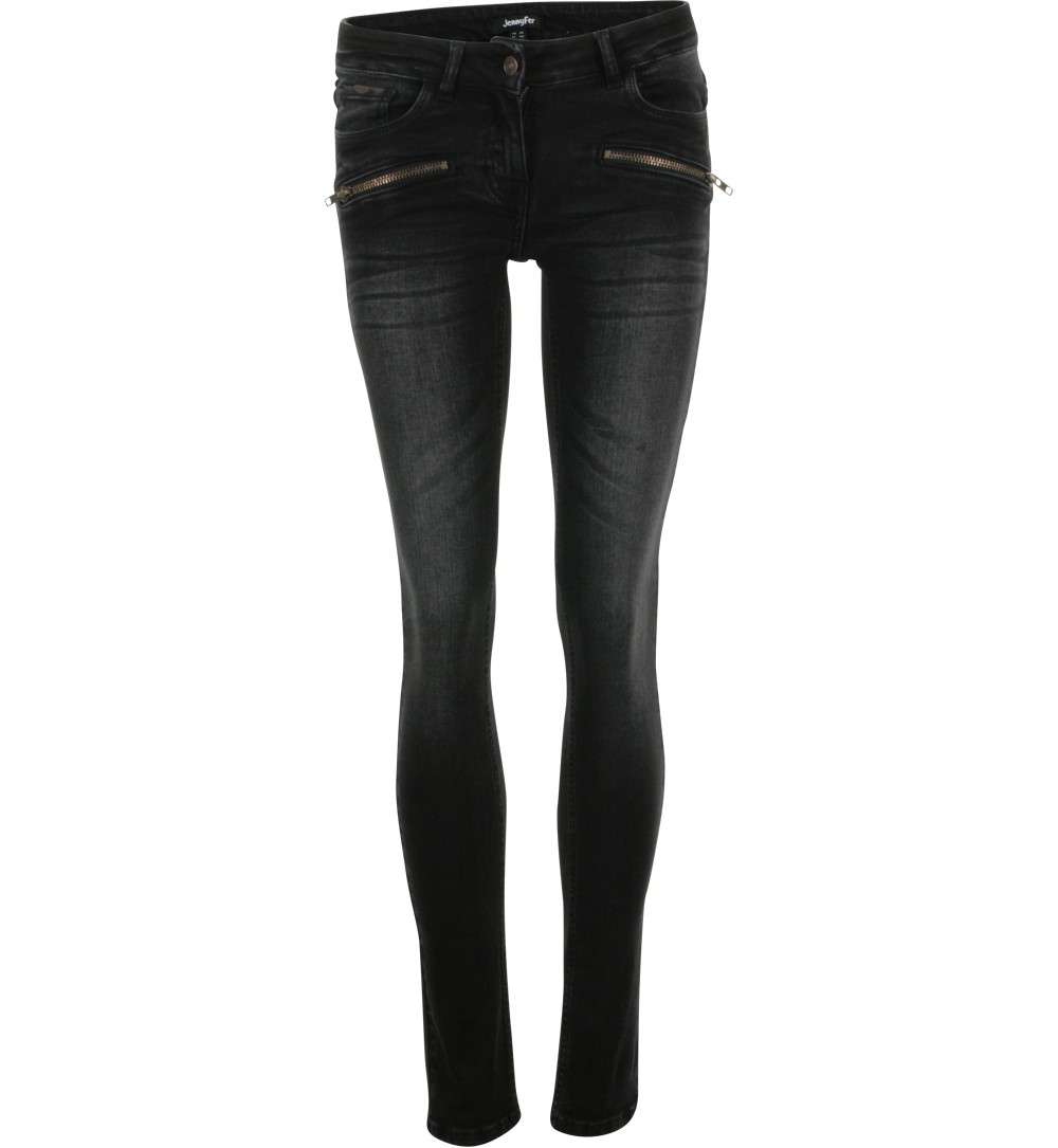 jean noir détails zip  - jeans Jennyfer