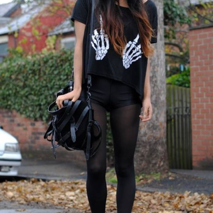 middle finger shirt shoes black goth grunge skeleton hands the middle