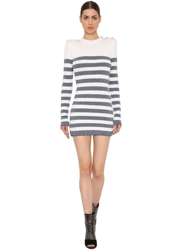 BALMAIN Lurex Striped Viscose Knit Dress in blue / white