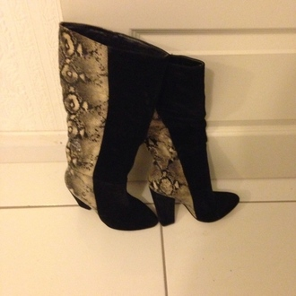 shoes boots snake phyton suede black heel heels