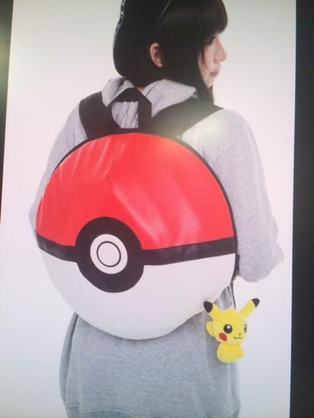 bag cartoon pokemon pokeball 90s style backpack 5eea087576359