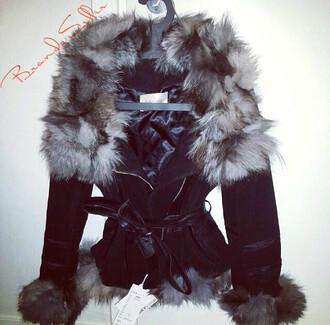 jacket black fur beautiful fox fur white fur loooooveeeee