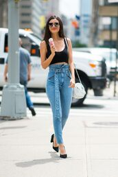 jeans,high waisted,denim,victoria justice,top,crop tops,pumps,celebrity