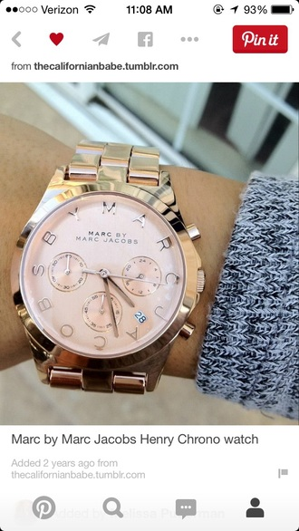 jewels marc jacobs marc by marc jacobs henry chrono rose gold watches rose gold watch