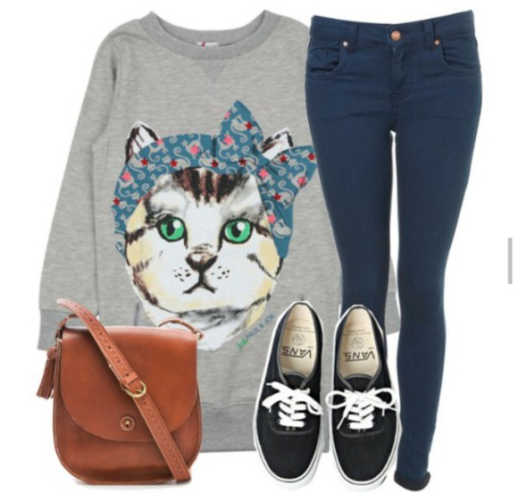 navy jeans cat sweater vans black vans cats