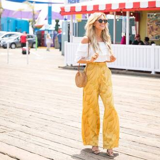 pants tumblr yellow wide-leg pants top white top off the shoulder off the shoulder top crop tops sunglasses bag round bag