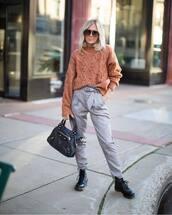 sweater,knitted sweater,pants,checkered pants,high waisted pants,boots,black boota,handbag,sunglasses
