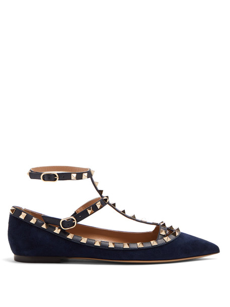 flats suede navy shoes