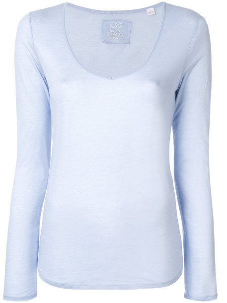 Closed sweatshirt women cotton blue sweater
