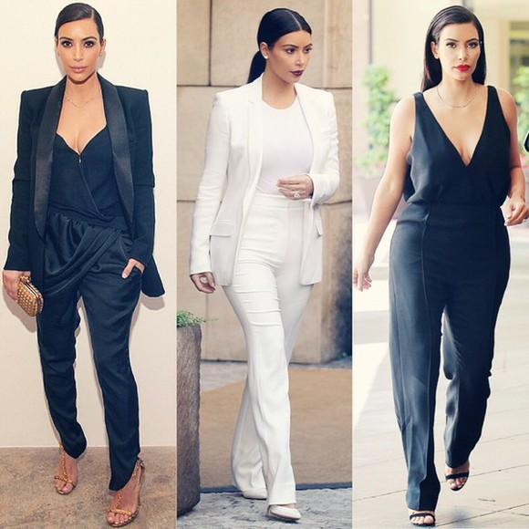 bag black chic jumpsuit kim kardashian pants style deep v-neck