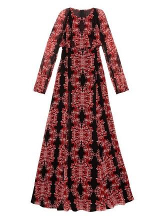 gown print silk black red dress
