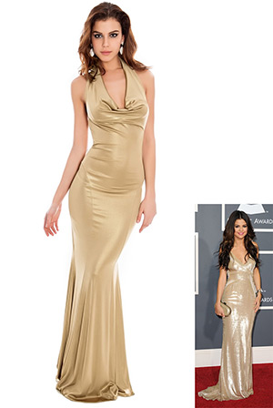 Cowl Neck Metallic Evening Maxi Dress