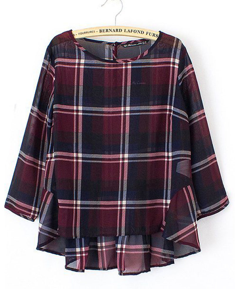 Pleated & Plaid Loose Chiffon Blouse | BlackFive