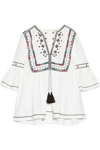 blouse embroidered cotton top