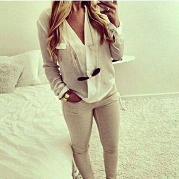 blouse white jeans
