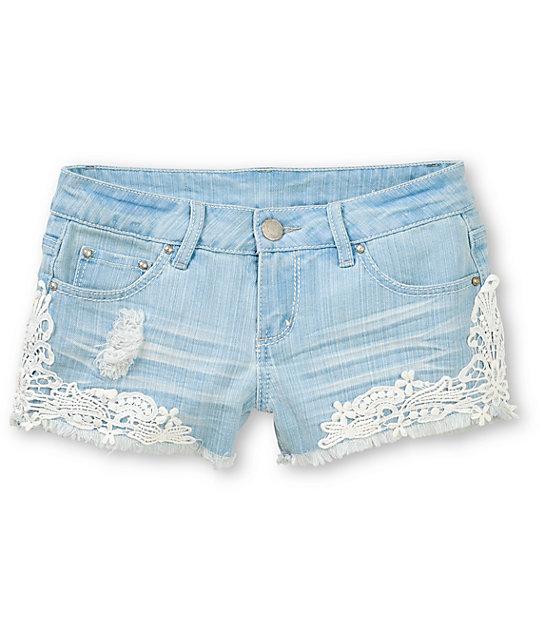 Almost famous kara crochet light wash denim cut off shorts