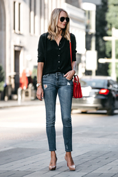 fashionjackson,blogger,top,jeans,shoes,bag,sunglasses,jewels,red bag,black shirt,shirt,pumps