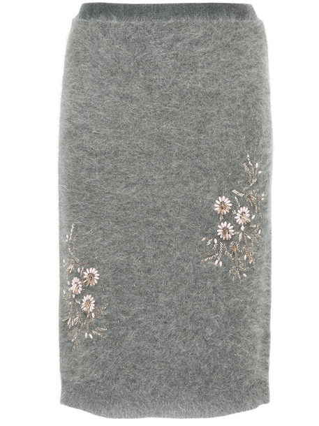 Cityshop skirt mini skirt mini embroidered women floral knit grey