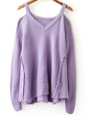 sweater,fall outfits,lilac,long sleeves,knitwear,knitted sweater,fall sweater,casual,zaful
