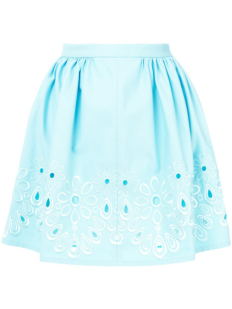 BOUTIQUE MOSCHINO skirt mini skirt mini embroidered women floral cotton blue