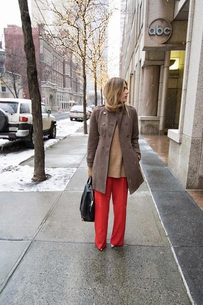 devon rachel blogger wide-leg pants red pants winter coat