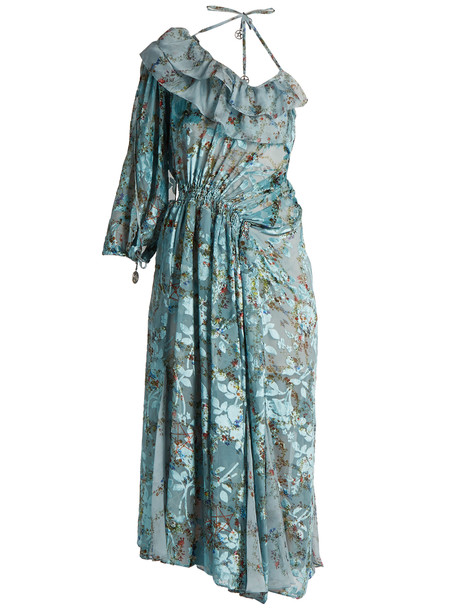 dress print silk blue