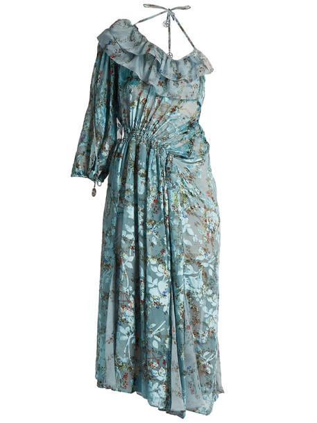 PREEN BY THORNTON BREGAZZI dress print silk blue