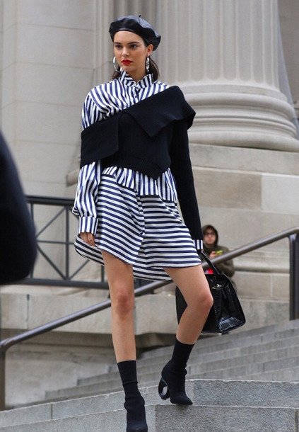 dress shirt dress stripes kendall jenner model editorial sweater asymmetrical hat