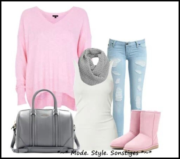 jeans scarf pullover shirt shoes bag sweater
