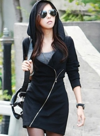 dress half hoodie half jacket half coat black hoodie oblique zipper long sweater jacket zip black coat asian