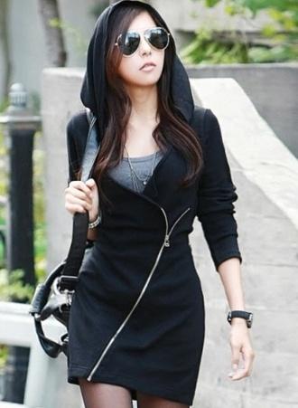 black zip black coat hoodie asian