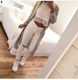 shoes white whiteonwhite white ripped jeans white crop tops crop tops white top long cardigan tan belly white shoes top jeans cardigan grey cardigan women's instagram white timberlands belly button ring