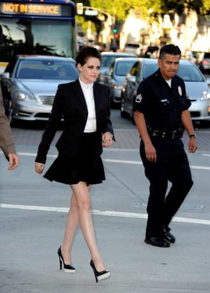white top jacket kristen stewart whole outfits black skirt high heels