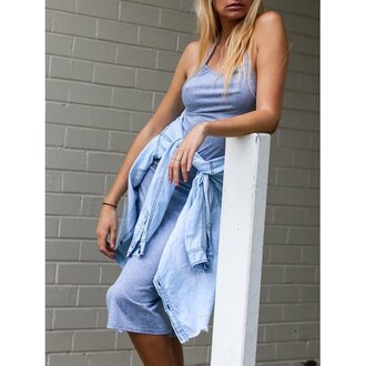 dress rose wholesale boho casual streetwear fashion summer blue denim girly