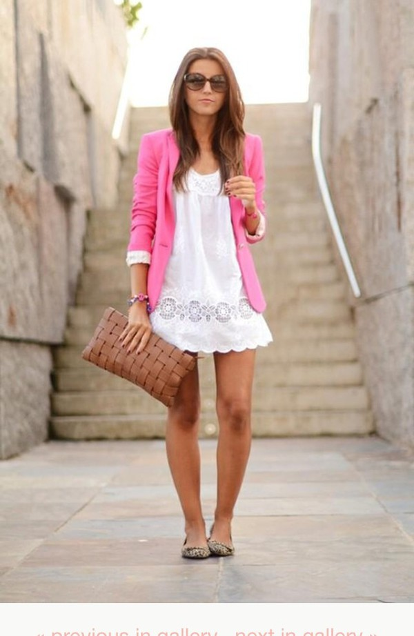 blouse jacket top t-shirt skirt dress white dress white lace dress patten pink blazer