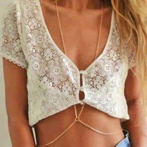 Amazon.com: Susenstore Women Bikini Beach Cross Crossover Harness Necklace Waist Belt Belly Body Chain: Jewelry