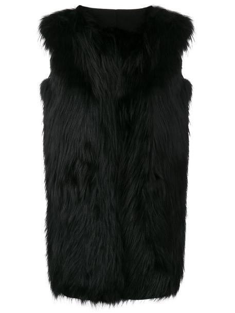 jacket fur fox women black silk wool