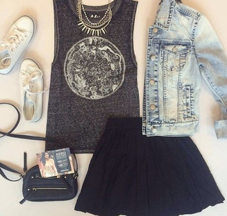 shirt skirt jacket moon denim jacket spikes necklace denim black blue bag t-shirt shoes summer outfits tank top black and white blouse jewels converse grey top black skirt top dark grey moon t-shirt graphic tee tumblr tumblr grunge grunge outfit tumblr outfit cuye kawaii trendy grey tank top