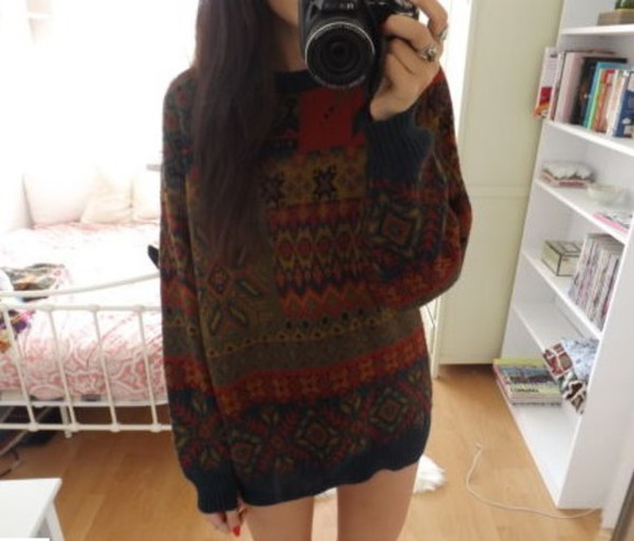 sweater vintage jumper vintage sweater aztec 80's 90's oversized sweater