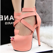 shoes,fsjshoes,pink,coral,high heels,sexy,fashion,strappy heels,strappy,platform shoes,girly,girly wishlist,elegant,prom dress