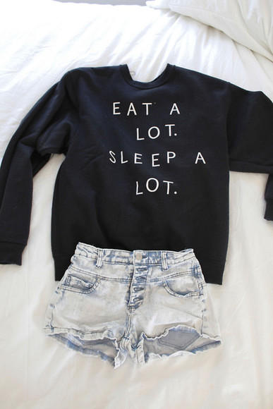 shirt eat a lot sleep a lot crewneck