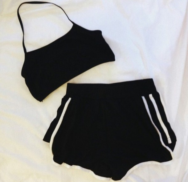 shorts black adidas workout style blouse