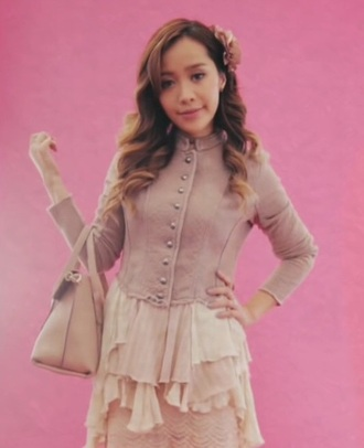 sweater michelle phan michelle phan taupe sweater ruffle ruffled sweater sweater with ruffles taupe sweater with ruffles cute pink white beige coat pink sweater pink coat beige sweater soft pink coat white dress
