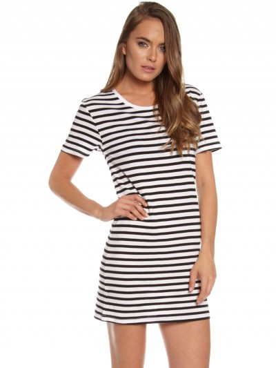 Boyfriend Tee Dress in Stripe - Glue Store