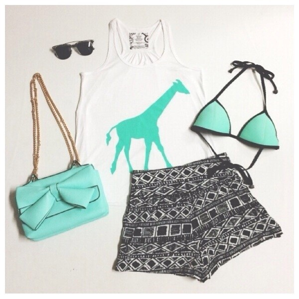 shorts tribal pattern High waisted shorts swimwear t-shirt bag