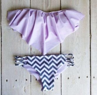 swimwear lavender chevron purple bikini