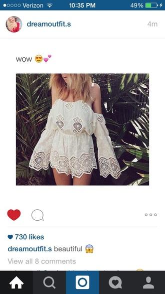 romper white dress style fashion lace romper blonde hair