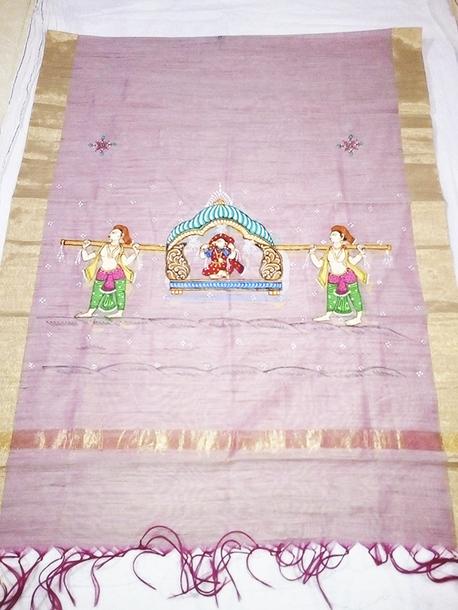 scarf pattachitra hand painting dupatta